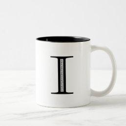 Damask Letter I - Black Two-Tone Coffee Mug