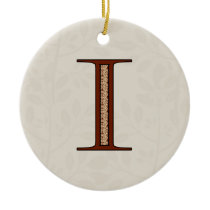Damask Letter I - Red Ceramic Ornament