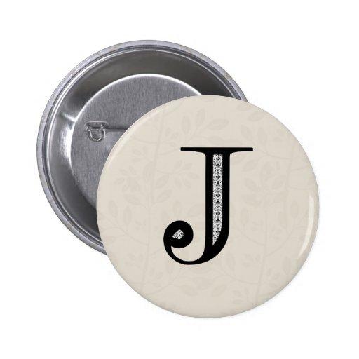 Damask Letter J - Black 2 Inch Round Button