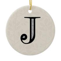 Damask Letter J - Black Ceramic Ornament