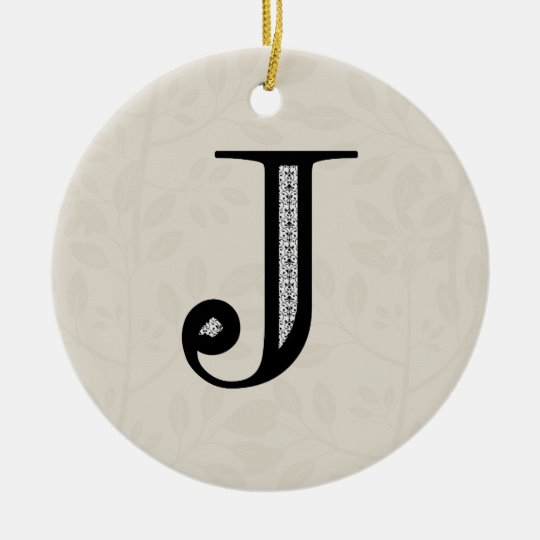 Damask Letter J - Black Ceramic Ornament