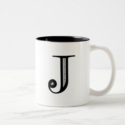 Damask Letter J - Black Coffee Mugs