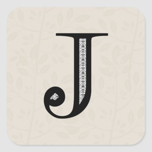 Damask Letter J - Black Square Sticker