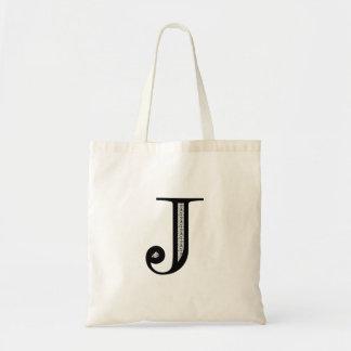 Damask Letter J - Black Tote Bag