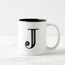 Damask Letter J - Black Two-Tone Coffee Mug