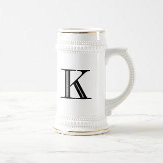 Damask Letter K - Black Mug