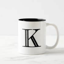Damask Letter K - Black Two-Tone Coffee Mug