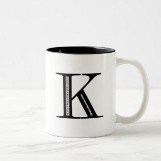 Damask Letter K - Black Two-Tone Coffee Mug