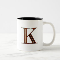 Damask Letter K - Red Two-Tone Coffee Mug