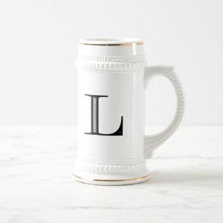 Damask Letter L - Black Beer Stein