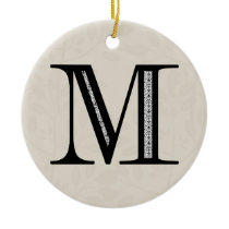 Damask Letter M - Black Ceramic Ornament