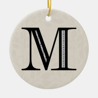 Damask Letter M - Black Double-Sided Ceramic Round Christmas Ornament