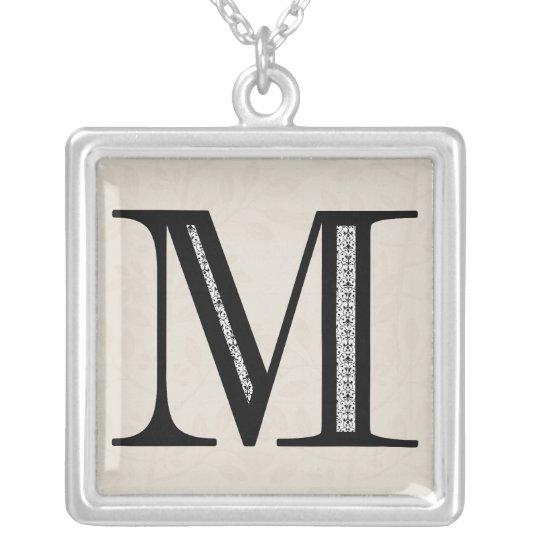 Damask Letter M - Black Silver Plated Necklace
