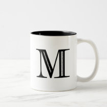 Damask Letter M - Black Two-Tone Coffee Mug