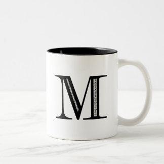 Damask Letter M - Black Two-Tone Coffee Mug