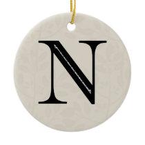 Damask Letter N - Black Ceramic Ornament