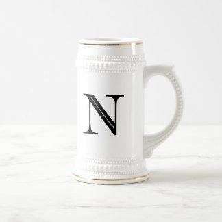 Damask Letter N - Black Mug