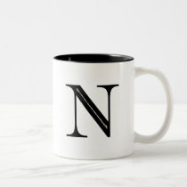 Damask Letter N - Black Two-Tone Coffee Mug
