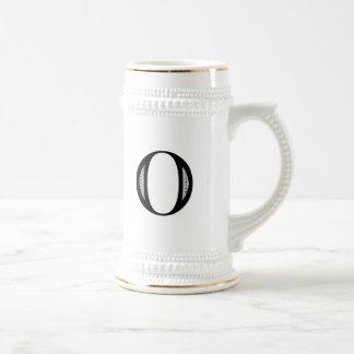 Damask Letter O - Black Beer Stein