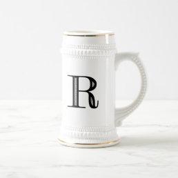 Damask Letter R - Black Beer Stein