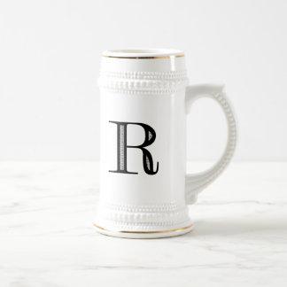 Damask Letter R - Black 18 Oz Beer Stein