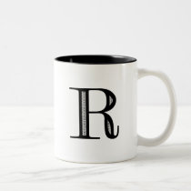 Damask Letter R - Black Two-Tone Coffee Mug