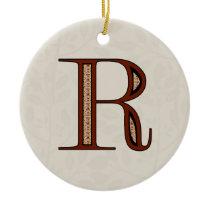 Damask Letter R - Red Ceramic Ornament