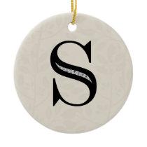 Damask Letter S - Black Ceramic Ornament