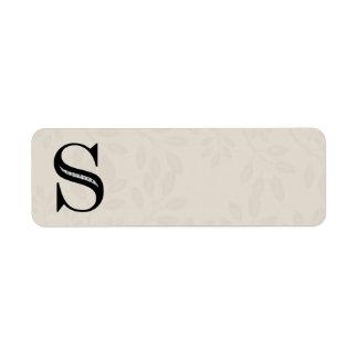 Damask Letter S - Black Return Address Label
