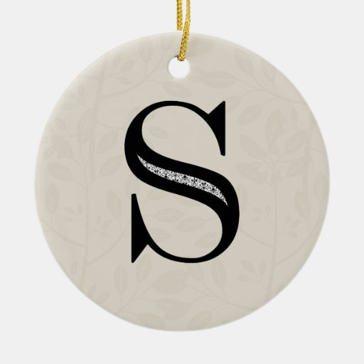 Damask Letter S - Black Ornament