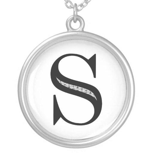 Damask Letter S - Black Round Pendant Necklace