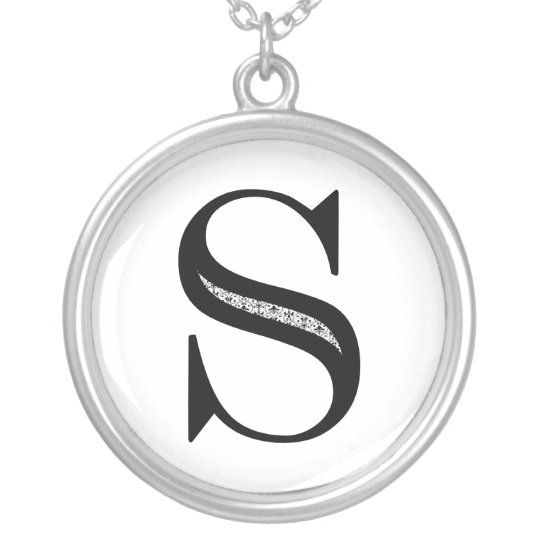 Damask Letter S - Black Silver Plated Necklace