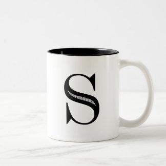 Damask Letter S - Black Two-Tone Coffee Mug