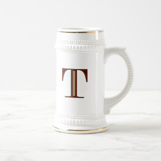 Damask Letter T - Red Beer Stein