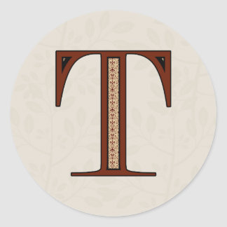 Damask Letter T - Red Classic Round Sticker
