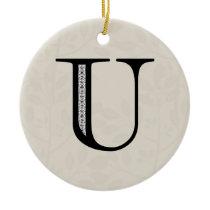 Damask Letter U - Black Ceramic Ornament