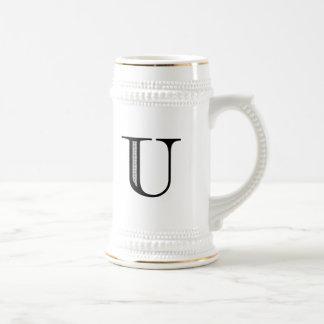 Damask Letter U - Black Mugs