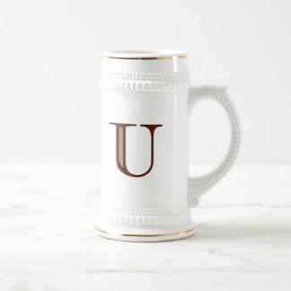Damask Letter U - Red Beer Stein