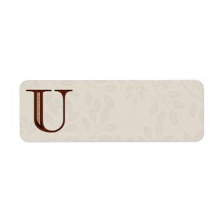 Damask Letter U - Red Label