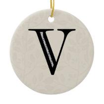 Damask Letter V - Black Ceramic Ornament