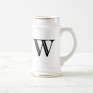 Damask Letter W - Black Beer Stein