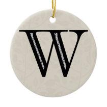 Damask Letter W - Black Ceramic Ornament