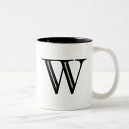 Damask Letter W - Black Two-Tone Coffee Mug