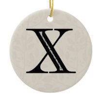 Damask Letter X - Black Ceramic Ornament