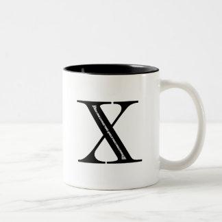 Damask Letter X - Black Two-Tone Coffee Mug