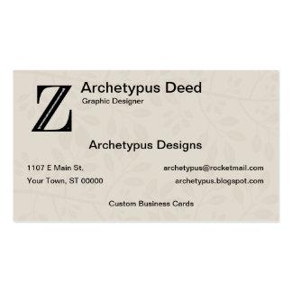 Damask Letter Z - Black Business Card