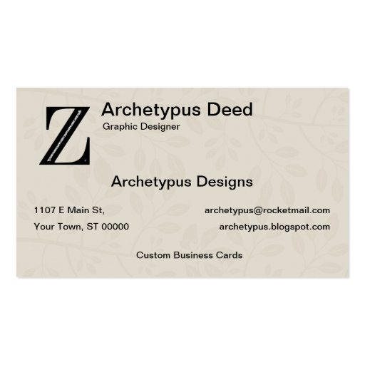 Damask Letter Z - Black Business Card Template