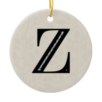 Damask Letter Z - Black Ceramic Ornament