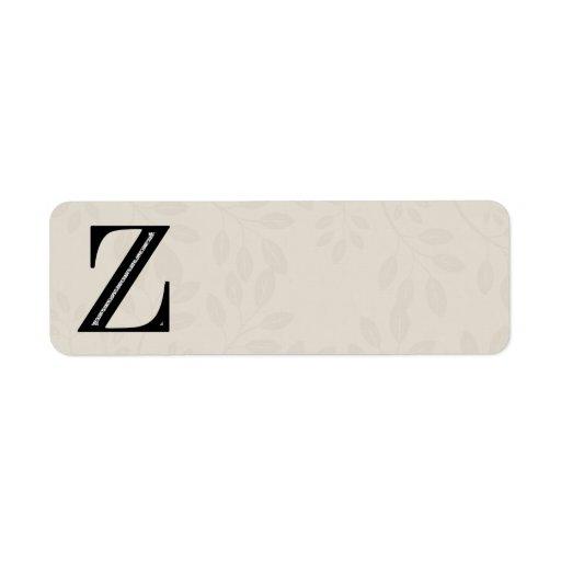 Damask Letter Z - Black Label