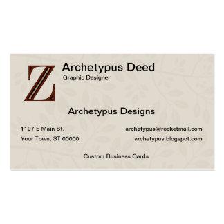 Damask Letter Z - Red Business Card